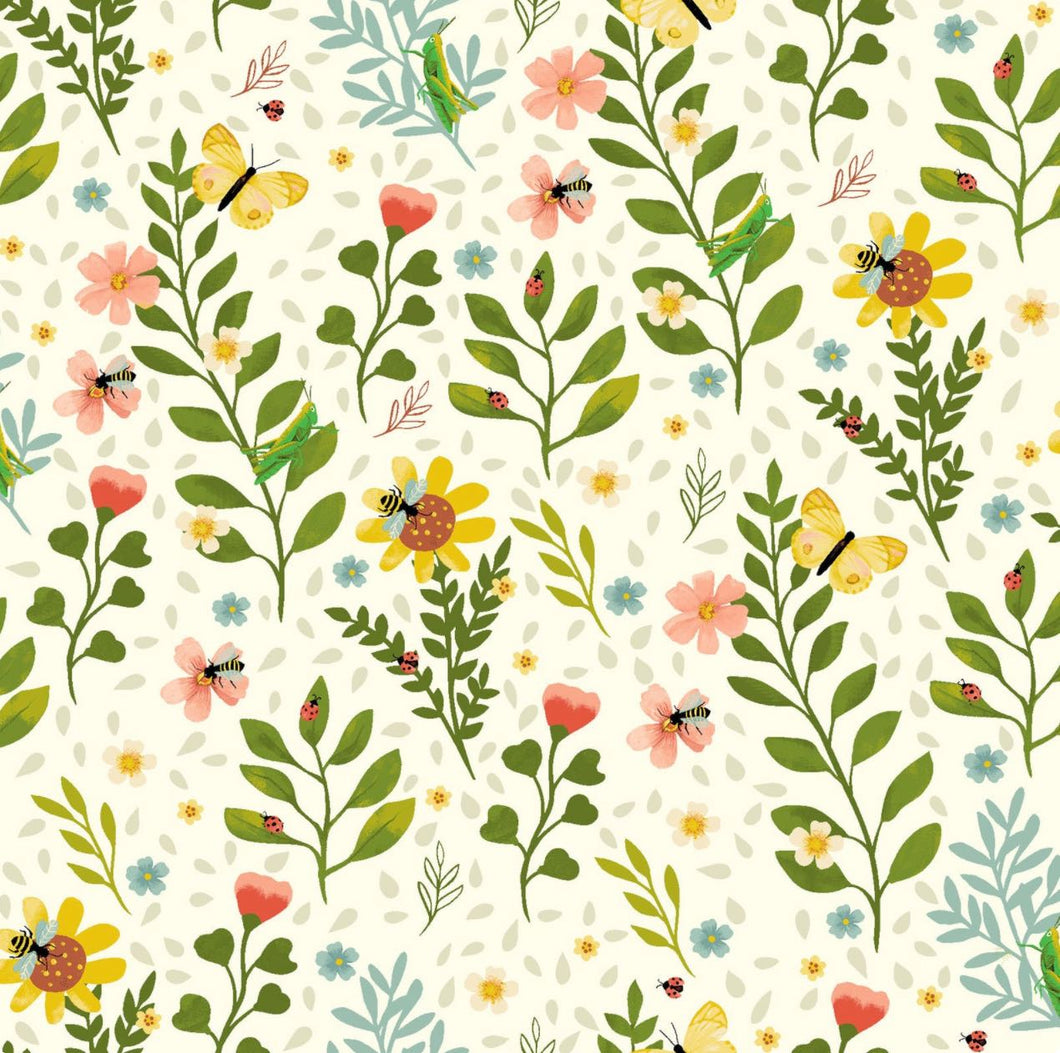Garden Notes Cream Floral by Diane Neukirch for Clothworks