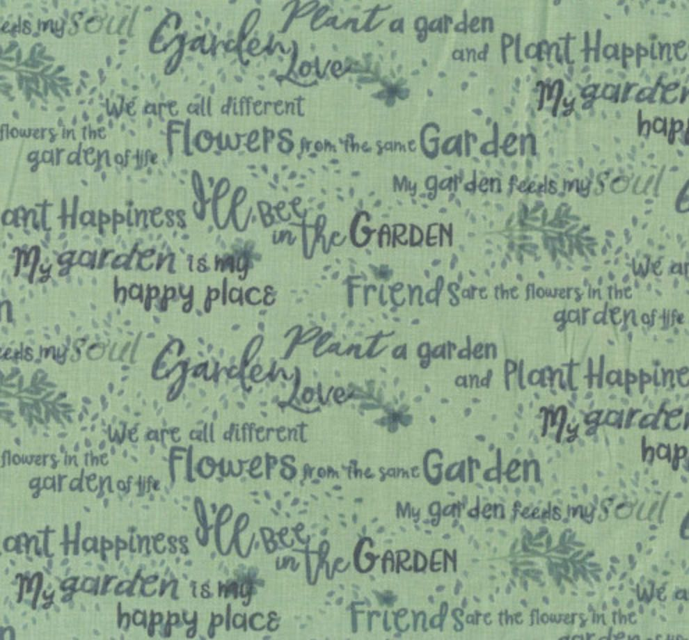 Garden Notes Words by Ellen Crimi Trent for Clothworks - Dark Mint