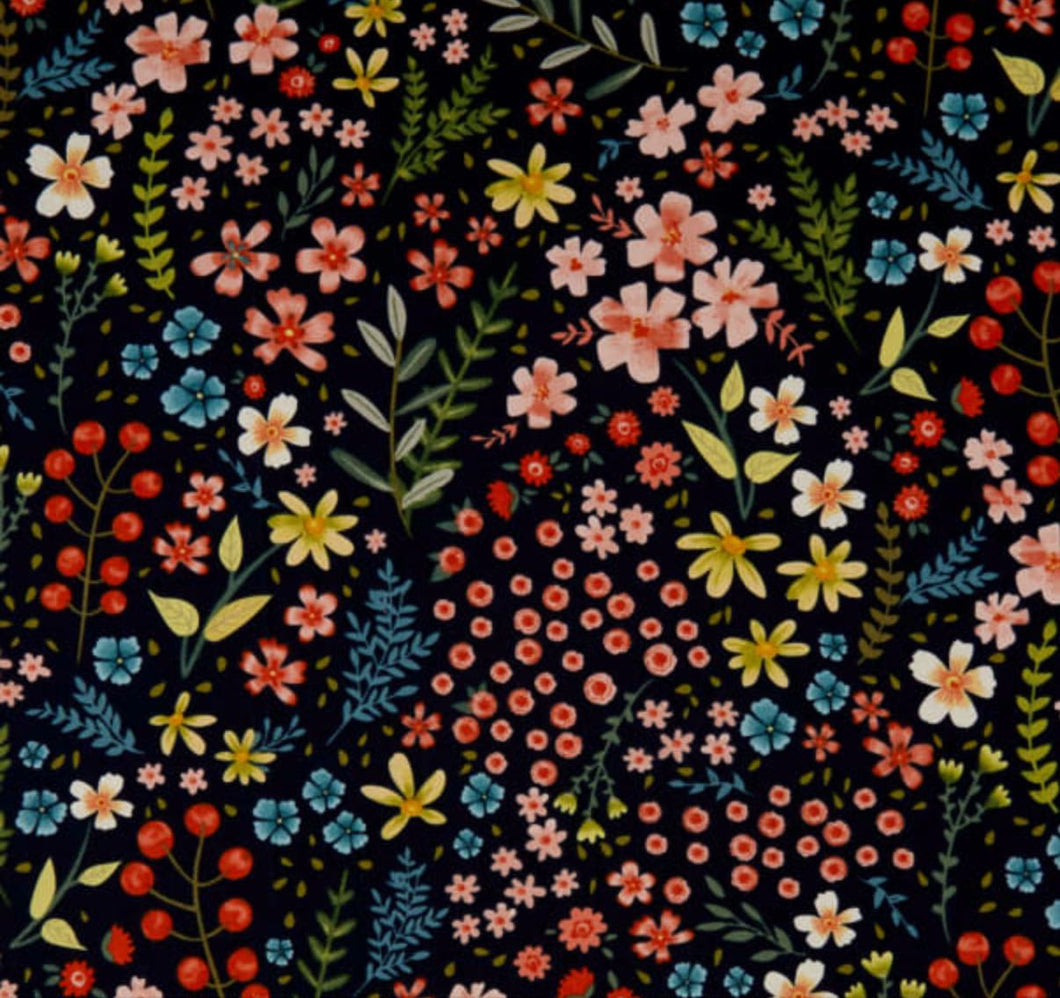 Garden Notes Meadow Navy by Diane Neukirch for Clothworks