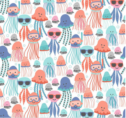 Fantaseas Jellies on White by Maude Asbury for Blend Fabrics