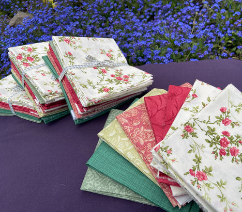 Poppies in Red and Green FQ Bundle (8) procured by Fabric and Frills