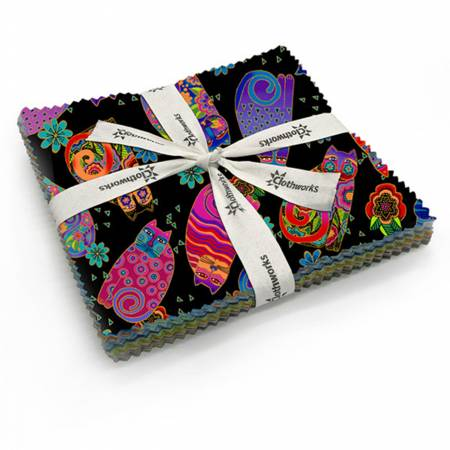 LB - Feline Frolic 5in Square precut Bundle by Laurel Burch for Clothworks - Fabric and Frills