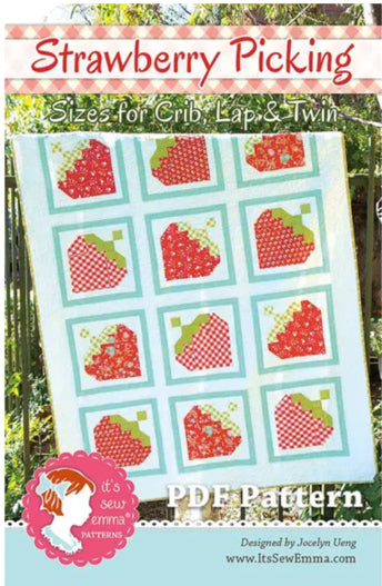 Strawberry Picking Quilt Pattern by It's Sew Emma (fat quarter friendly)