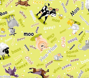 SusyBee Lime Words and Small Barnyard Buddies Mix by Clothworks - Fabric and Frills