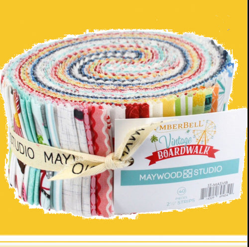 Vintage Boardwalk Collection Jelly Roll 2 1/2 inch strips by Kimberbell for Maywood Studios - Fabric and Frills