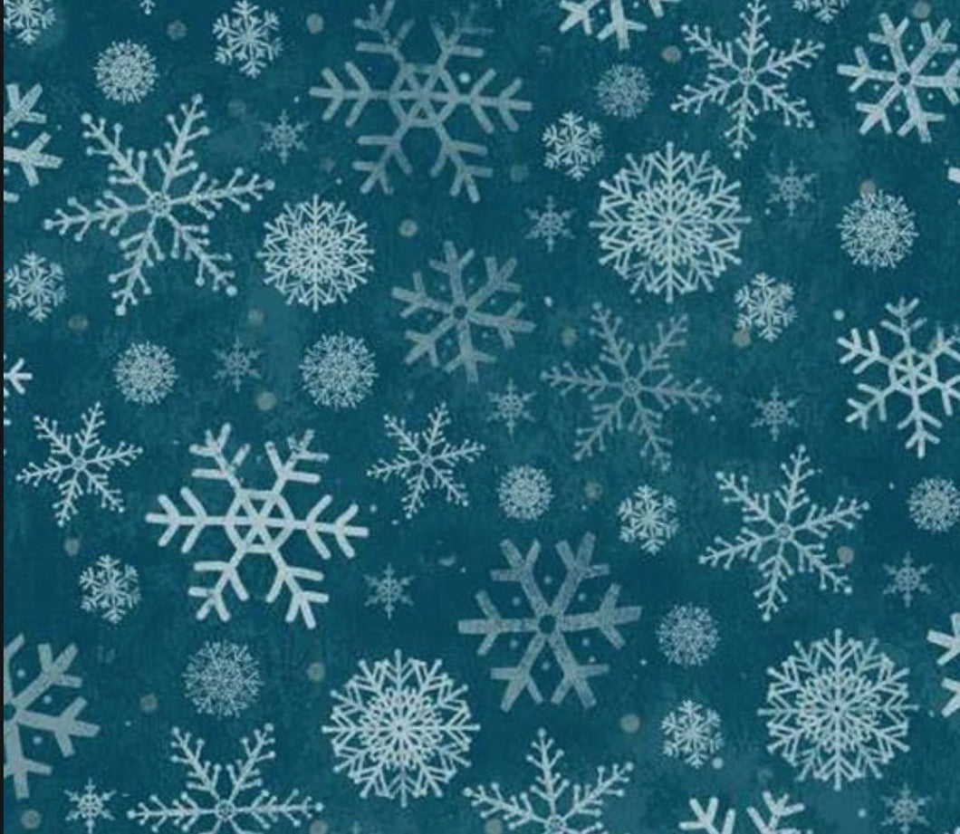 Winter Woodland Snowflake Dark Teal dots by Diane for Clothworks