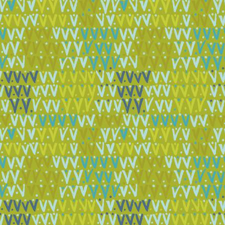 Spring Robins - Olive Geo Yardage by Clothworks - Fabric and Frills