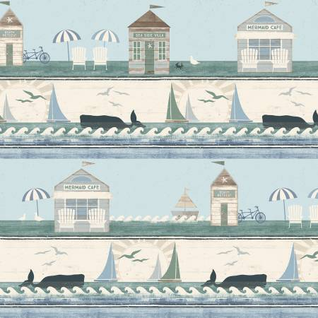 Beach House Light Teal Borders by Dan DiPaolo - Fabric and Frills