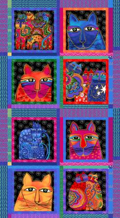 Multi Feline Frolic Blocks Metallic Panel - Fabric and Frills