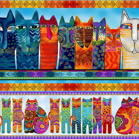 LB - Multi Feline Frolic Pic Stripe w/Metallic by Laurel Burch for Clothworks - Fabric and Frills