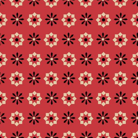 Wigglebutts Red Geometric Flower yardage by Dan DiPaolo for Clothworks - Fabric and Frills