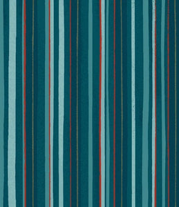 Winter Woodland Dark Teal Stripe By Diane Neukirch for Clothworks