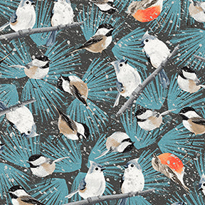 Winter Woodland Dark Teal Birdies in Snow by Neukirch for Clothworks