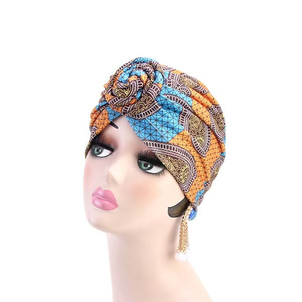 Bonnet Femme Style Turban  avec Noeud à Motif Wax Orange