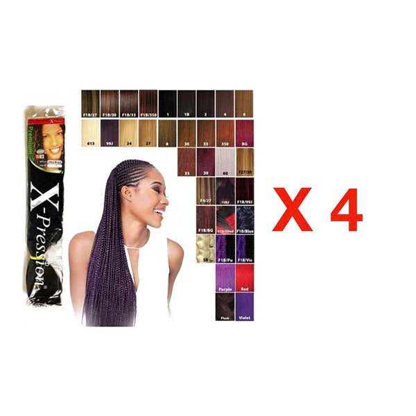 Pack 4 Paquets X-Pression Mèches Extensions cheveux synthétiques - couleur 1B