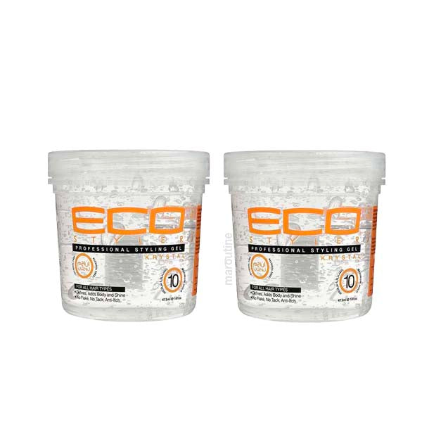 Pack de 2 Eco Styler Krystal Styling Gel - Gel Fixant &Coiffant Incolore Protection UV Aux Protéines De Blé 2x  473 ml