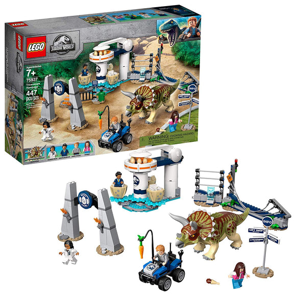 LEGO Jurassic World 75937 Triceratops (447 Pieces) Building Kit - Brick Pops