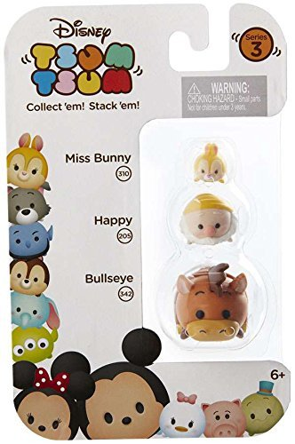 Disney Tsum Tsum Series 3 Miss Bunny Happy Bullseye 3-Pack #310 #205 #342 Minifigure 039897015958 B01HH41GI6 BrickPops
