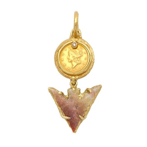 Ancient Native American arrow head hung from an 1853 U.S. one dollar gold coin accented with a single cognac colored diamond