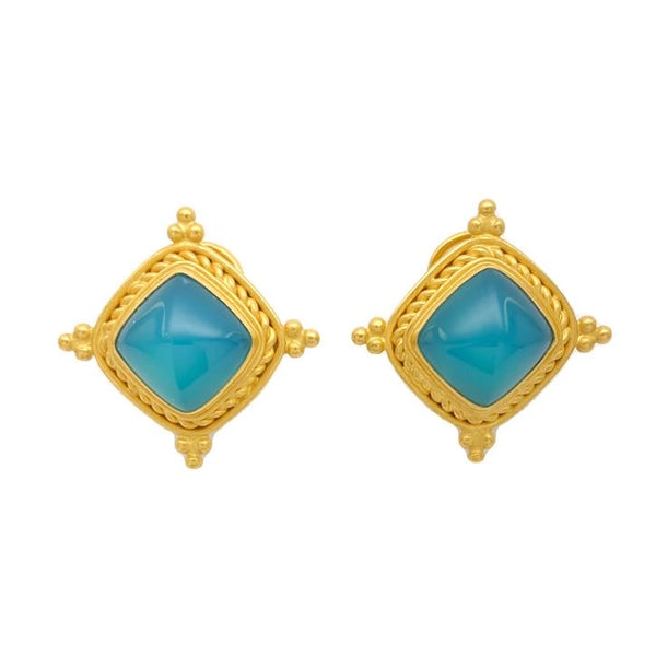 Murawis Blue Agate Earrings
