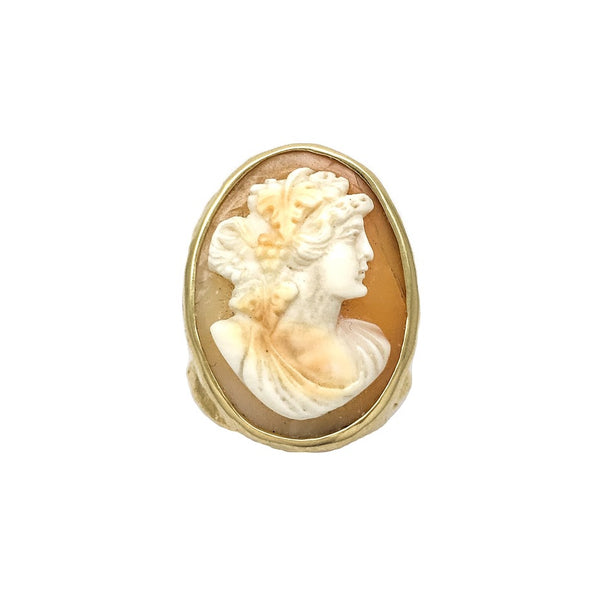 Cameo set in a pallet knife textured ring