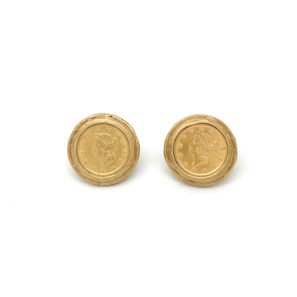 Stud earrings with friction backs U.S. one dollar gold coins from the 1800's set in textured bezel