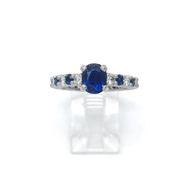 Platinum, blue sapphire, and diamond ring