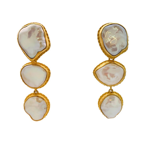 Fishnet Keshi Pearl Earrings