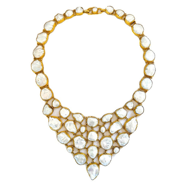 White Keshi Pearl Fishnet Necklace