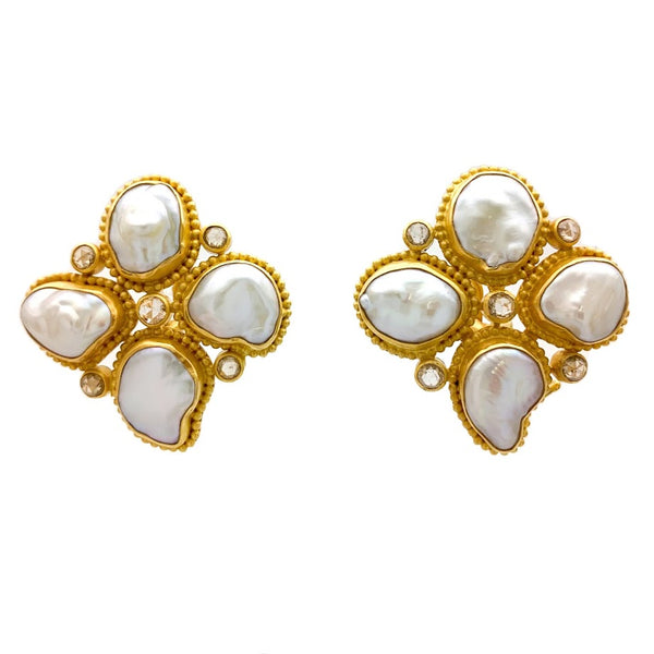 Provance Keshi Pearl and Diamond Earrings