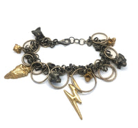 A bracelet composed of random sizes of round loops and links interspersed with gold and silver castings including an arrowhead, snake bones, and a lighting bolt