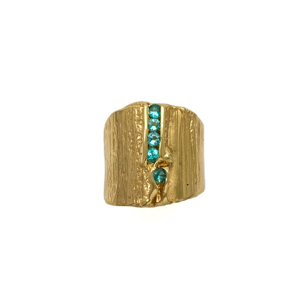 Bark texture band set with a row of Paraiba Tourmaline