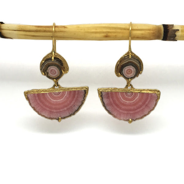 Rhodochrosite slice dangle earrings with locking shepard hooks