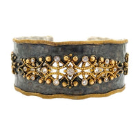 Blackened Sterling Silver and 22K Yellow Gold Cuff