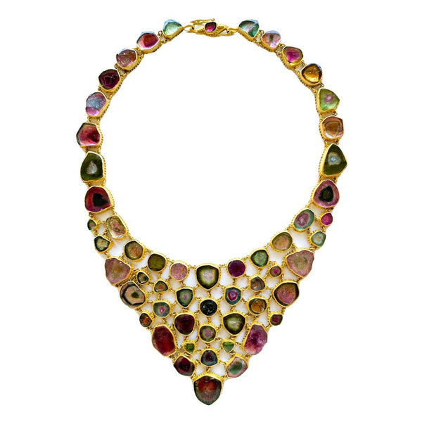 Multicolor Tourmaline Slice Fishnet Necklace
