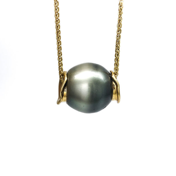 Two tone Tahitian pearl slider