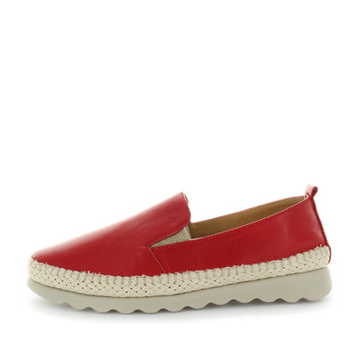 Cheers by the flexx -  super comfortable, high quality leather slip-on shoe with a trim feature, padded insoles and elastic gussets. in  red