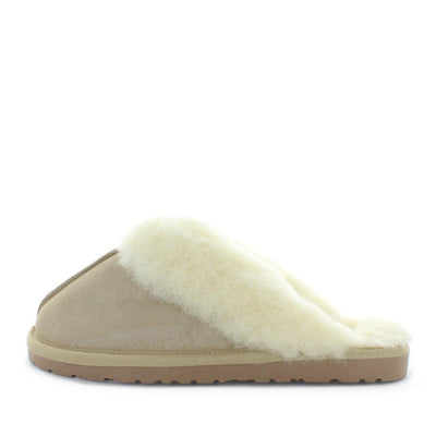 Just Bee UGGs- Cita - womens slip-on slipper style, 100% wool, leather shoe with detailed upper and over hanging wool on the trim - womens comfort slippers - womens best slippers- UGGs