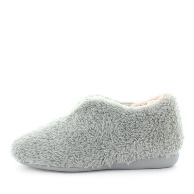 Gris by Costa - ishoes - grey comfort slipper with cotton/faux sheep skin upper, polyester look that is very warm to keep your toes toastie - womens slippers,