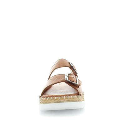 Hewei by zola - soft quality leather sandal - platform style, double buckle and rope trimming for detail - extra comfortable womens shoes - womens sandals - womens fashion shoes  - slip on sandal