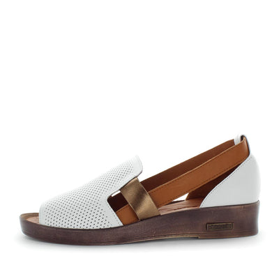 Himam  by zola - iShoes - comfort, stylish womens sandal - detailed leather upper and laser cut - side detail - slip-on style and padded insole for comfort - white, tan, brown, black -womens sandals- womens comfort shoes