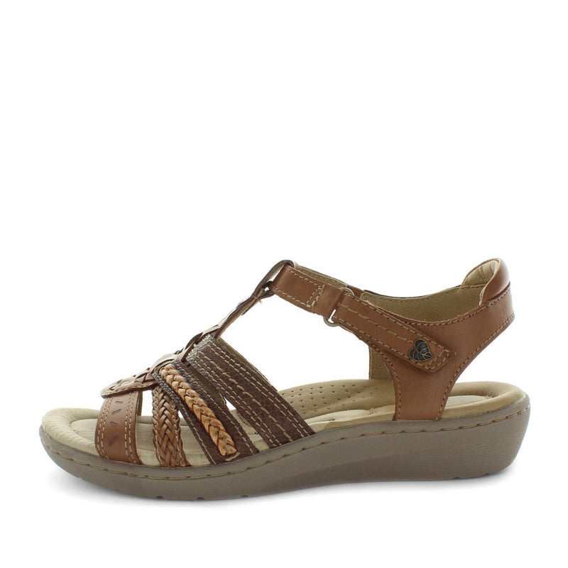 Kelly 2 by plant shoes - leather pin hole punched upper design, multi cross over details, slight wedge like heel and two adjustable straps with padded insole for extra comfort - womens sandals - womens summer shoes - womens shoes - womens planet shoes - multi detailed upper - woven design sandal
