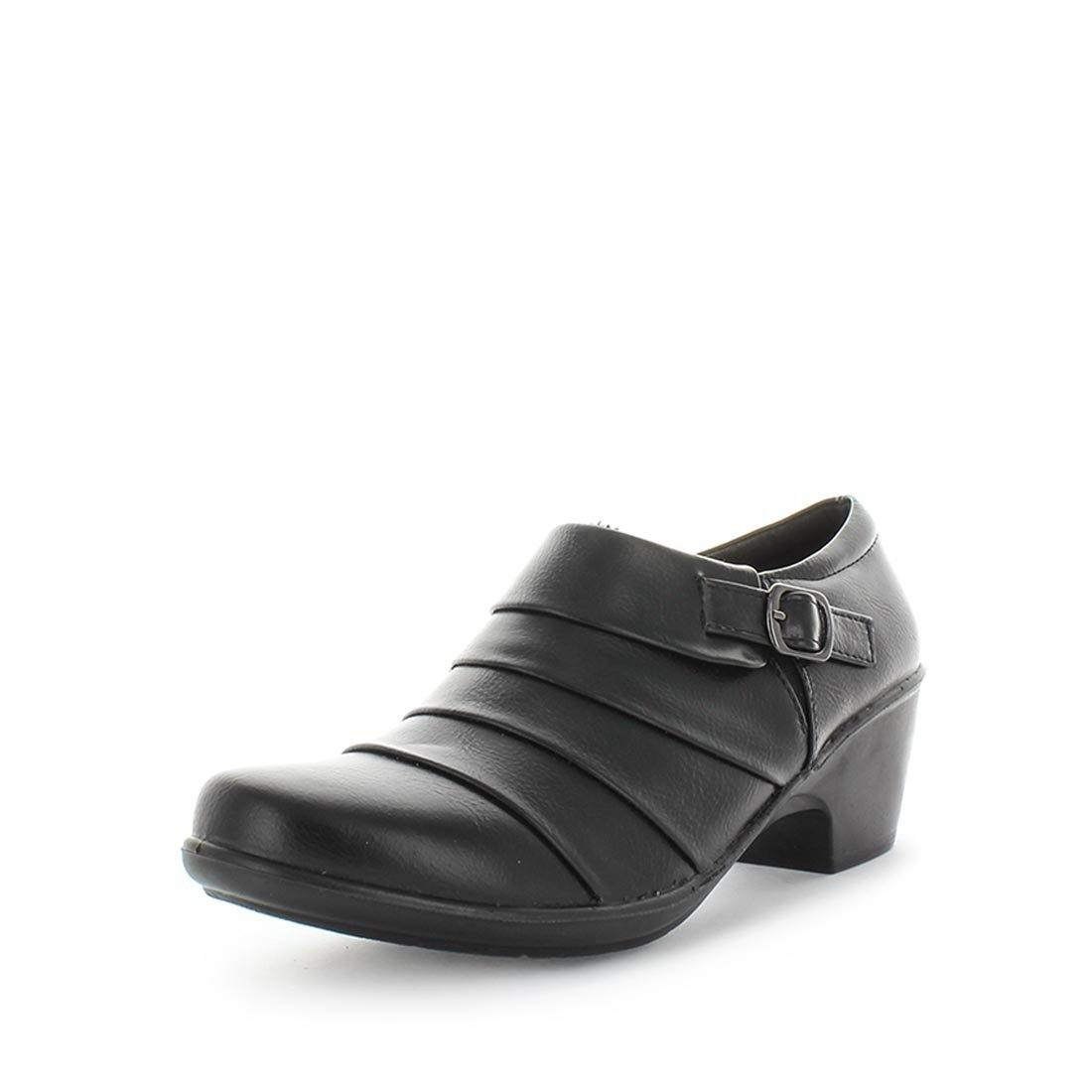Mallari by aerocushion - Ishoes - comfort flats - comfort little heels - comfort women's shoes - women's flats - comfort flats - cute little black block heel flat with a side buckle and full inside zip with a memory foam padded footbed