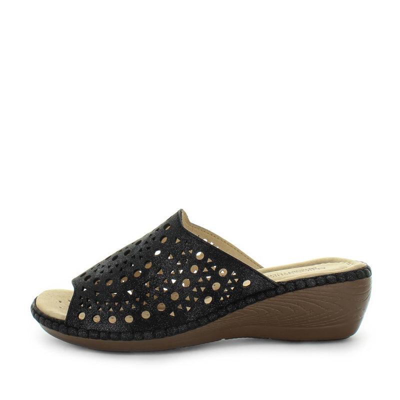 Manhattan by Areocushion - slip on sandal with detailed upper and wedge like heel to extra height - comfort footbed and leather materials - black