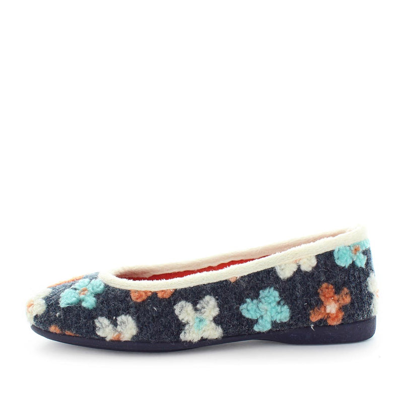 Marino slipper by costa - ballet style slipper with faux fur lining supper and sock to give a warm polyester like look - womens slippers in light black and colours flowers - comfort slippers and warm womens slippers