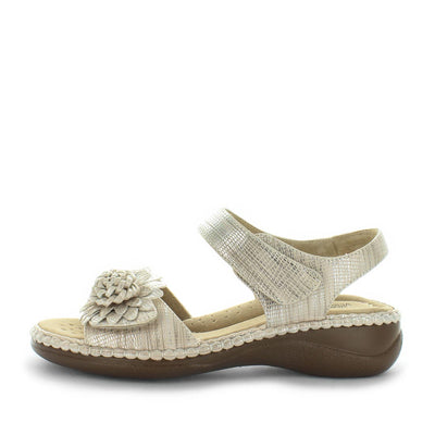 Mojito by Areocushion - comfort sandal with flower like detailed upper and wedge -slight  heel to extra height - comfort footbed and leather materials - two adjustable straps - Beige