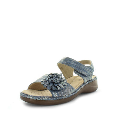 Mojito by Areocushion - comfort sandal with flower like detailed upper and wedge -slight  heel to extra height - comfort footbed and leather materials - two adjustable straps - blue