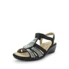 Moor by Areocushion - comfort sandal with shiny bead like detailed upper and wedge like heel to extra height - comfort footbed and leather materials - elastic strap - black