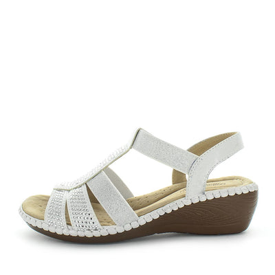 Moor by Areocushion - comfort sandal with shiny bead like detailed upper and wedge like heel to extra height - comfort footbed and leather materials - elastic strap - white