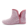 Salmon by Costa in pink - womens boot style slippers with open sides. Detailed stars on the upper made of fauz fur and faux fur lining. all in the colour pink - womens slippers